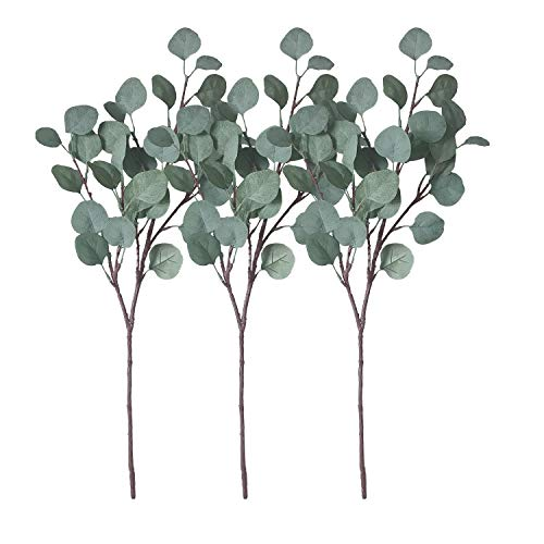 ZHIIHA 3 pcs Artificial Eucalyptus Garland Long Silver Dollar Leaves Foliage Plants Greenery Fake Plastic Branches ()