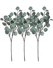ZHIIHA 3 pcs Artificial Eucalyptus Garland Long Silver Dollar Leaves Foliage Plants Greenery Fake Plastic Branches Greens Bushes (Grey White, 3)