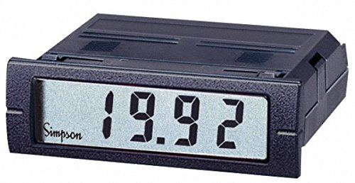 3-1/2 Digits, Digital LCD, AC Ammeter, Panel Meter, 4-440 Hz, 250 VAC, Red (Digital Meter Simpson Panel)