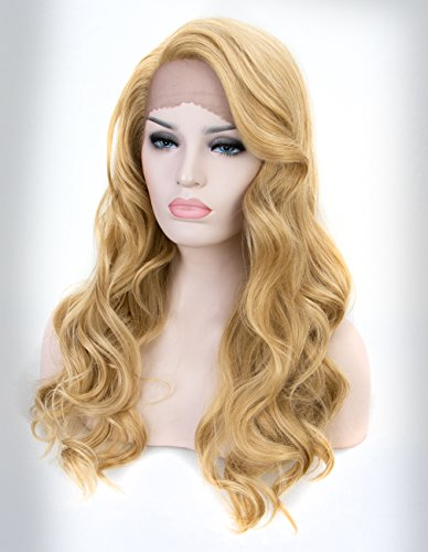 (Persephone Blonde Lace Front Wig with Side Part Glueless L Part Honey Blonde Wavy Synthetic Wigs for Halloween 20 Inches)