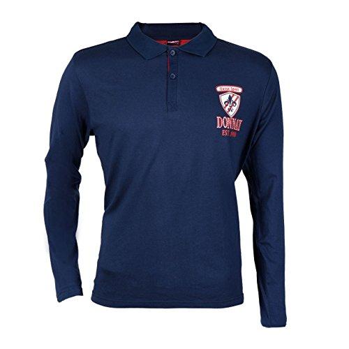 2 Stück Donnay Herren Langarm Poloshirt im Rugby Stil Blau und rot