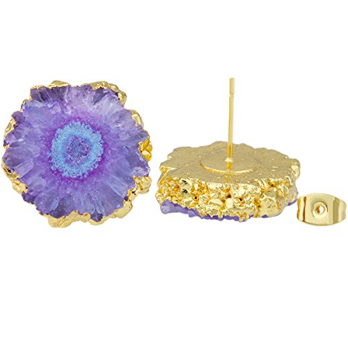 SUNYIK Natural Quartz Geode Druzy Stud Earrings,Purple Flower by SUNYIK (Image #3)