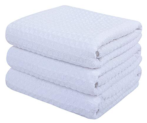 iber Drying Towels Waffle Weave Cleaning Towels Super Absorbent Dish Towels 16 inch X22 inch White ()