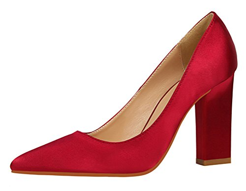 T&Mates Womens Elegant Pointed Toe Slip-ons Low Cut Anti-Slip Chunky Heel Satin Pumps Shoes (6 B(M) (Dye Ultra Lite Front)
