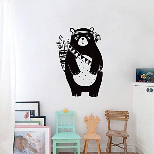 ggeion DIY Removable Vinyl Decal Mural Letter Wall Sticker Tribal Bear Woodland Animal Art Decor for Kids Room Tribal Nursery Home Decor Button Bear Wall Border