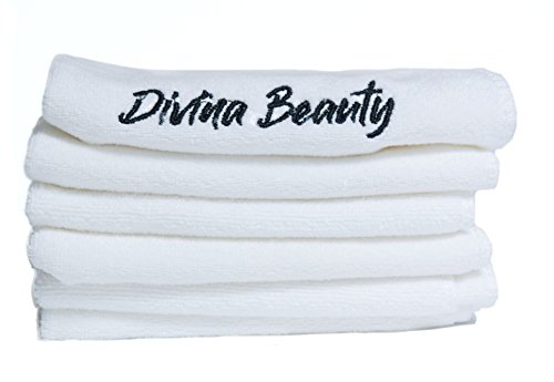 Divina Beauty Microfiber Face Washcloth Premium Makeup Remover Towel 6 Pack and Facial Skin Exfoliating Clean Remove Dead Skin Cells Antibacterial Wash Cloth 12 x 12 White