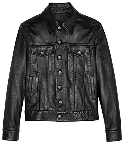 (SKYLINEWEARS Men's Real Soft Sheep Napa Leather Trucker Iconic Leather Jacket Black S)
