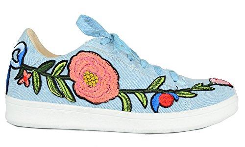 Chase & Chloe Womens Floral Embroidered Platform Fashion Sneakers Denim oyu9r7Q6RF