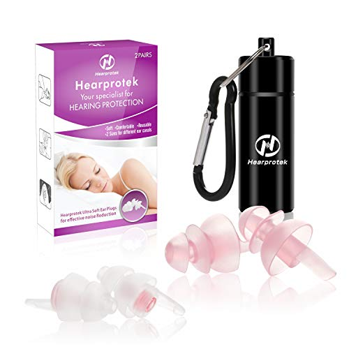 [2019 New Design] Sleeping Ear Plugs, Hearprotek 2 Pairs Women Ear Plugs, (32db & 30db) Ultra Soft Noise Reduction earplugs for Normal and Small Ears for Side Sleepers, snoring, Travel, Safety (Pink)