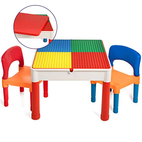 Smart Builder Toys 3 in 1 Duplo and Lego Compatible Activity Table with Removable Cover and Large Storage Area with 2 Chairs Set (View All Photos)