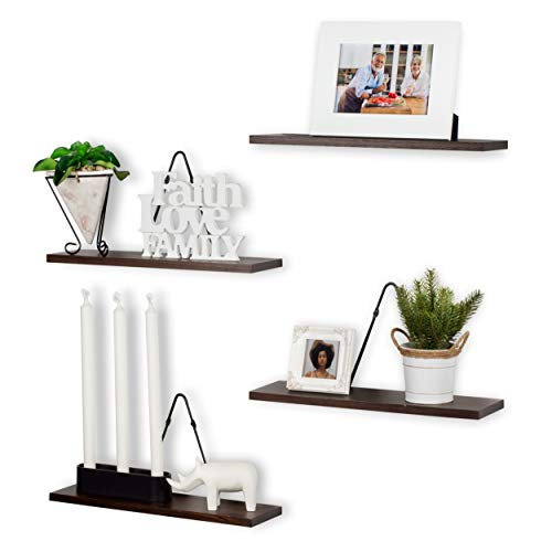 Rustic State Farmhouse Decor | Wall Mount Floating Shelves Wood with Triangle Bracket Set of 4 (Walnut)