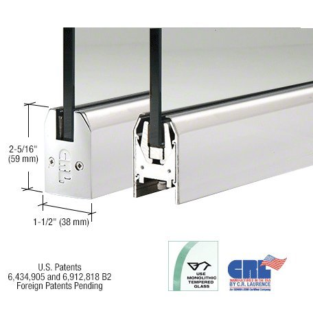 Polished Stainless Low Profile Tapered Door Rail Without Lock - 35-3/4'' Length