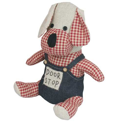 JVL Paws Gingham Novelty Fabric Handmade Cute Door Stop Doorstop Stopper Weight