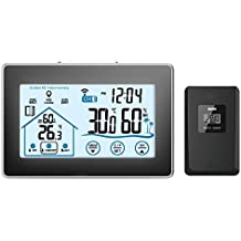 GAOAG Digital Wireless Hygrometer - Touch Screen Thermometer Wireless Temperature Indoor Outdoor Temperature Hygrometer with LED Backlight