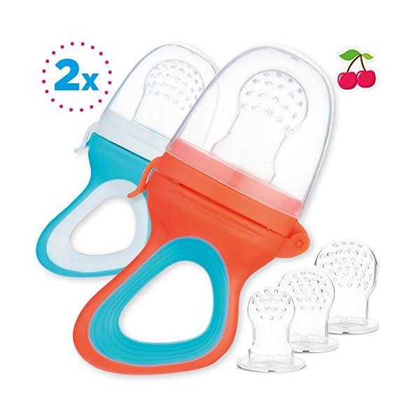 2 Chupetes Frutas para Bebés y Niños Pequeños + 6 Tetinas de Silicona en 3 Tamaños - sin BPA - Mordedor Verdura Papilla… 2