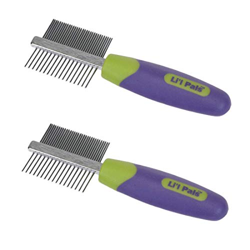 Li'l Pals Stainless Steel Double-Sided Comb Ideal for Puppies and Toy Breeds (2-Pack)