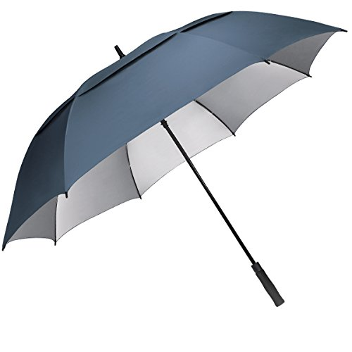 G4Free 68 inch Oversize Windproof Automatic Open Golf Umbrella Double Canopy Vented Waterproof Large UV Sun Protection Stick Umbrellas for Men Women(Blue)