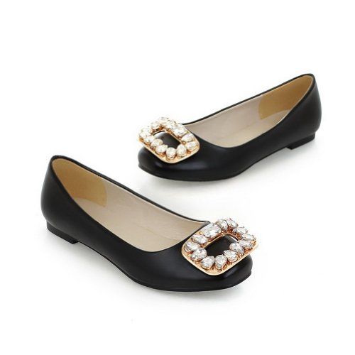 Black Soft 4 Diamond with Solid Closed Womens 5 Glass VogueZone009 Round PU Material Toe UK Flats aS7wn4