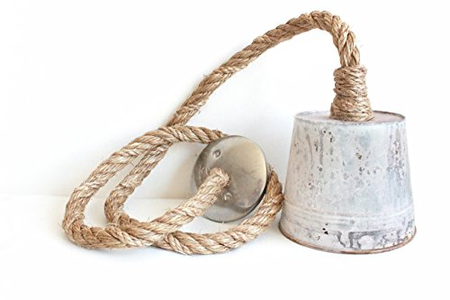 Rope Pendant Light hand wrapped in manila rope for pendent lighting, nautical rope light - Kitchen island pendant light, jute twine rope, Rope swag light, an Industrial farmhouse rustic light fixture