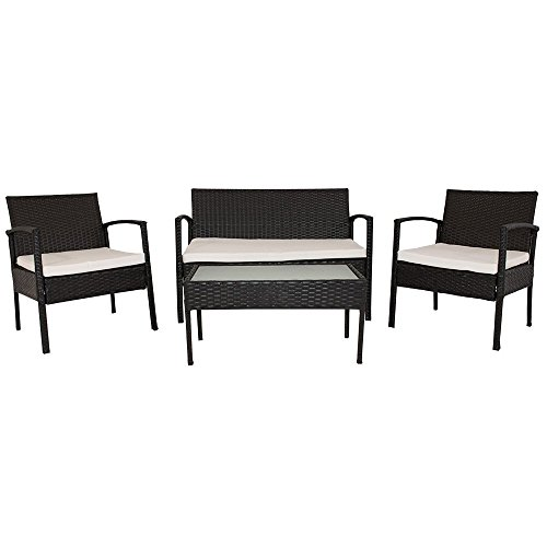 Polyrattan Gartenmöbel Sitzgruppe Trinidad (schwarz)