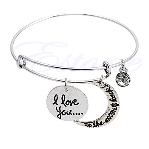 FunnyDay 1PC New Charm Alloy Expandable Wire Bangle Bracelet Crescent Adjustable Pendant Jewelry for Friends&Family (Silver)