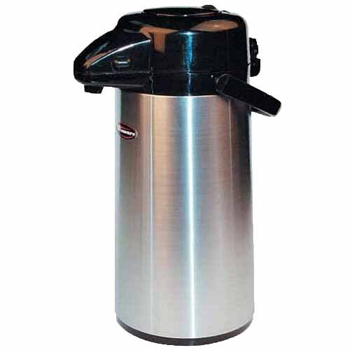 Winco Stainless Steel Lined Airpot, 3-Liter, Push Button