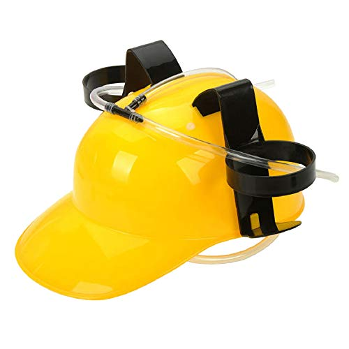Jeash Beer and Soda Drinking Helmet Party Hat - Beer Soda Guzzler Helmet Drinking Party Hat, Party Gags Cap Creative Fun Christmas Hat (Yellow)