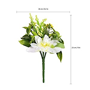Vicanba Artificial & Dried Flowers - Artificial Flowers Lifelike Lily Branch Decor Bouquets 5 Head Bouquet Silk Handmade Fake Grass - Artificial Dried Flowers 13