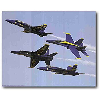US Blue Angels Military Aircraft Jet Aviation Airplane Wall Decor Art Print Poster (16x20)