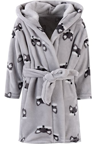 Kids Baby Boys Girls Cute Fox Cartoon Plush Robe Fleece Hooded Bathrobe Color 5 7-8T (Boys Bathrobe Fleece)