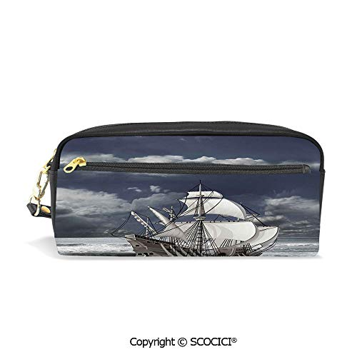 Students PU Pencil Case Pouch Women Purse Wallet Bag Cloudy Sky Caribbean Pirates Ship Oil Print Like Art Image Waterproof Large Capacity Hand Mini Cosmetic Makeup Bag ()
