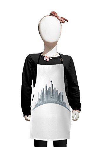 Lunarable Seattle Kids Apron, Silhouette of Washington City Tourist Attraction Space Needle in the Middle, Boys Girls Apron Bib with Adjustable Ties for Cooking Baking and Painting, Grey and Pale Grey