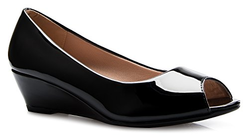 (OLIVIA K Women's Classic Open Toe Kitten Heel Wedges   Dress, Work, Party Low Heeled)