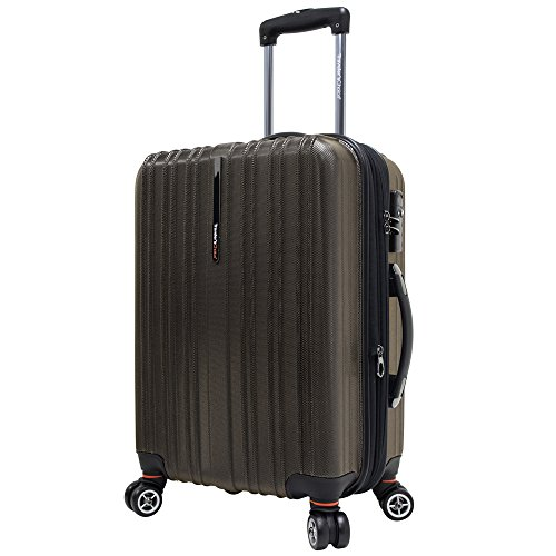 Travelers Choice Tasmania 21 Inch Expandable Spinner Luggage, Dark Brown ()