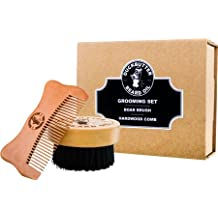 DUCKBUTTER Grooming Set - Beard Brush & Comb Boxed Gift Set - Made from 100% Genuine Peach Wood & Natural Boar Bristles – 2.25 cm Bristles & Teeth for Facial Grooming