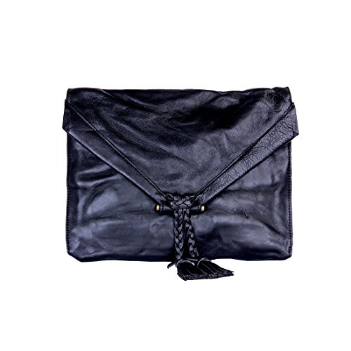 Embrazio Savannah Leather Envelope Clutch and Crossbody Purse (Distressed Black) by Embrazio