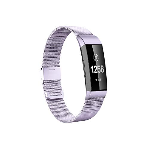 Fitlink Stainless Steel Bands Replacement for Charge 3 and Charge 3 SE for Women Men,Multi Color Multi Size(Purple,Small) (8.5' Bracelet Stainless Steel)