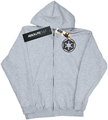 Star Wars Damen The Mandalorian Galactic Empire Insignia Breast Print Zip Up Hoodie Sport Grau Small