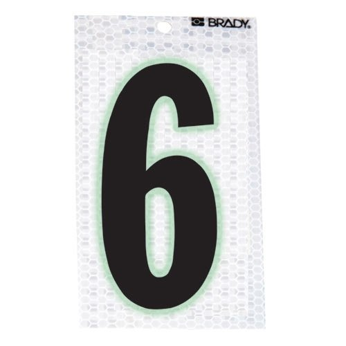 Brady 3020-6, 52313 Glow-In-The-Dark/Ultra Reflective Number - 6, 15 Packs of 10 pcs