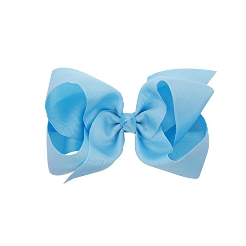 WuyiMC Baby Hair Bows For Girls Big Large Grosgrain Ribbon Boutique Bows Alligator Clips For Teens Babies Toddlers Children Newborn Infant Kids Teens 14 Colors (Light Blue)