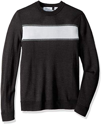 Cotton Tipped V-neck Sweater - Calvin Klein Men's Merino Sweater Crew Neck, ANSA Combo, X-Small