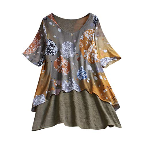 Tops for Women Elegant,Dainzuy Casual Boho Plus Size Loose Double Layer Linen Multicolor Print Swing Lady Long Shirt Blouse Army -
