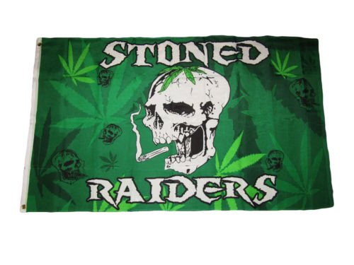 Moon 3x5 Weed Stoned Raiders Skull Marijuana Reefer Premium Flag 3x5 Grommets - Vivid Color and UV Fade Resistant - Prime Outside Garden Home - Raider Marine Knife
