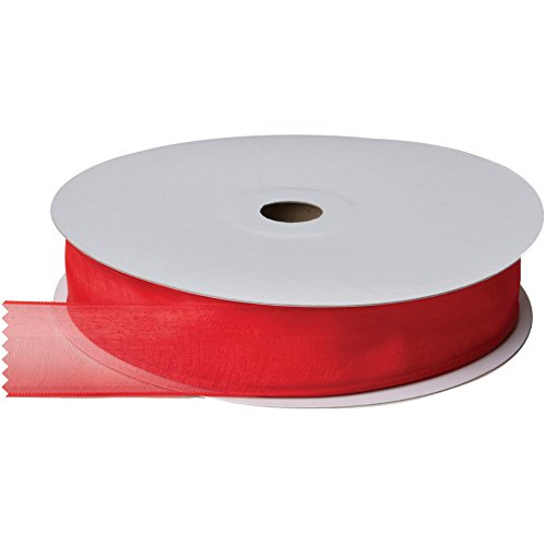 Jillson & Roberts Organdy Sheer Wired Ribbon, 1 3/8'' Wide x 100 Yards, Red by Jillson Roberts