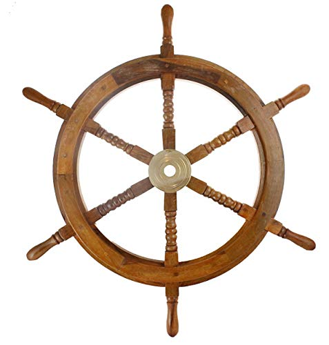 """Well Pack Box Wooden Captains Ship Wheel Solid Wood Great Pirate or Nautical Look (30"""")"""