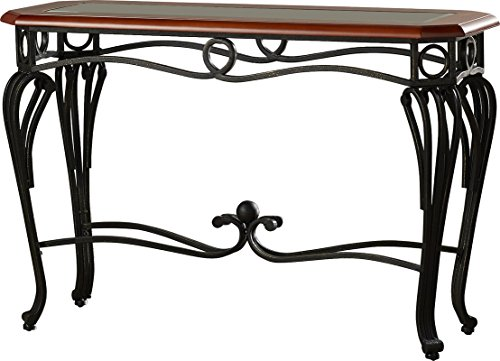 Console Table With Hand Crafted Delicate Curves Made of Iron Wood and Glass in Dark Cherry Color Eye-Catching and Chic - 42' Curve