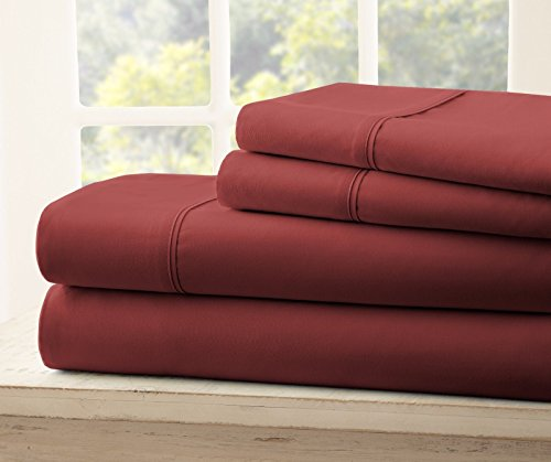 Queen Size Royal Collection 1900 Thread Count Bamboo Quality Bed Sheet Set With 1 Fitted, 1 Flat and 2 Standard Pillow Case.Wrinkle Free Shrinkage Free Fabric, Deep Pockets (Burgundy Red)
