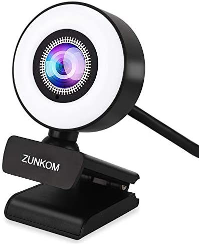 1080P Ring Full HD Streaming Webcam, ZUNKOM PC Web Camera with Ring Fill Light and Dual Microphone for YouTube, Skype, Online Classes, Studying, Video Call, Conference, Gaming (USB Plug & Auto-Focus)