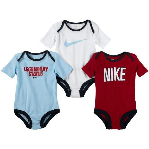 Nike Newborn Boys' Bodysuit Set - 3 Pack 3-6months Blue / White/Red