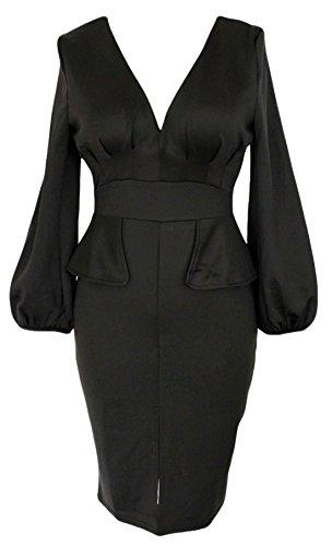 erdbeerloft - Vestido - Manga Larga - Manga Larga - Opaco - para mujer Negro negro talla única